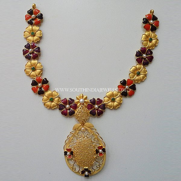 Gold Designer Enamel Necklace