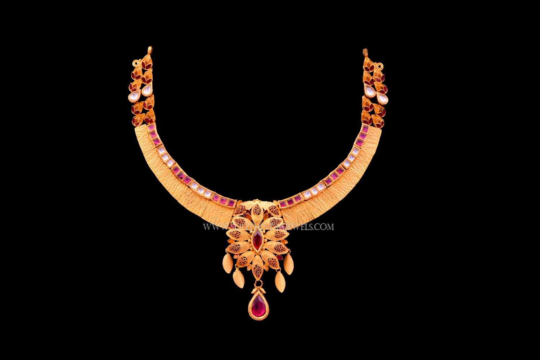 Gold Matt Finish Stone Necklace