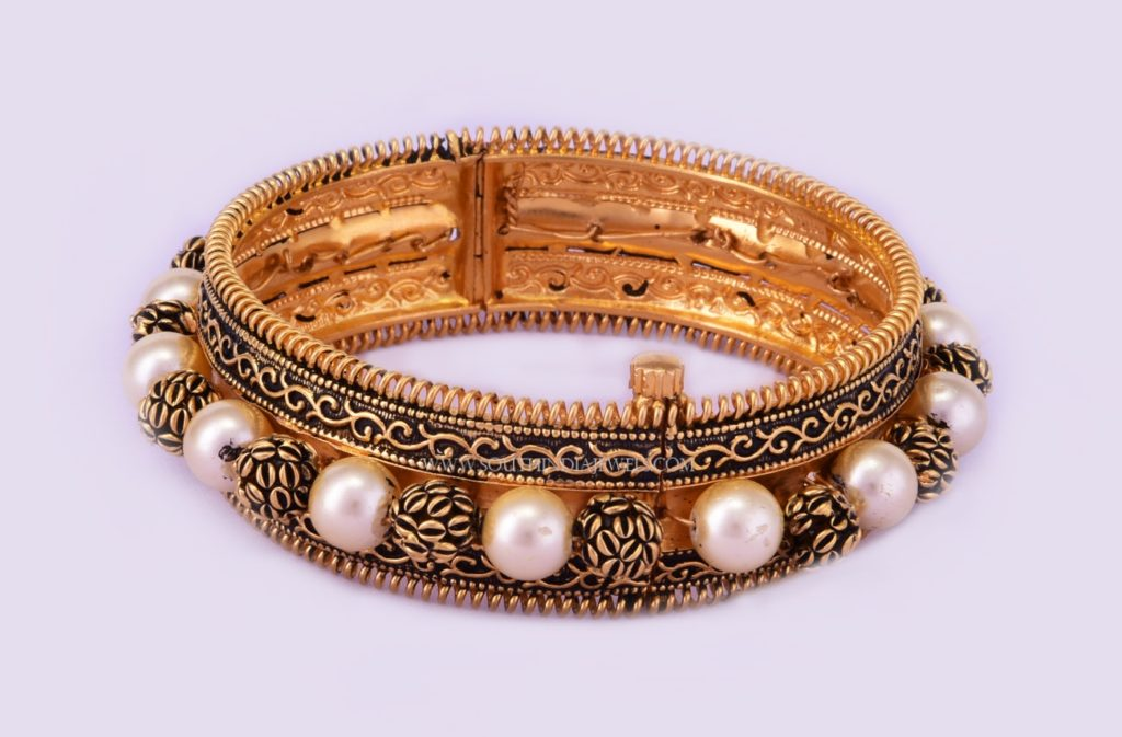 Gold Oxidized Bangle With Pearls
