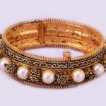Gold Oxidized Bangles With Pearls
