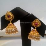 Gold Jhumka With Pearls and Rubies