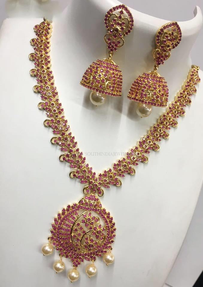 Imitation Short Ruby Necklace with Jhumka