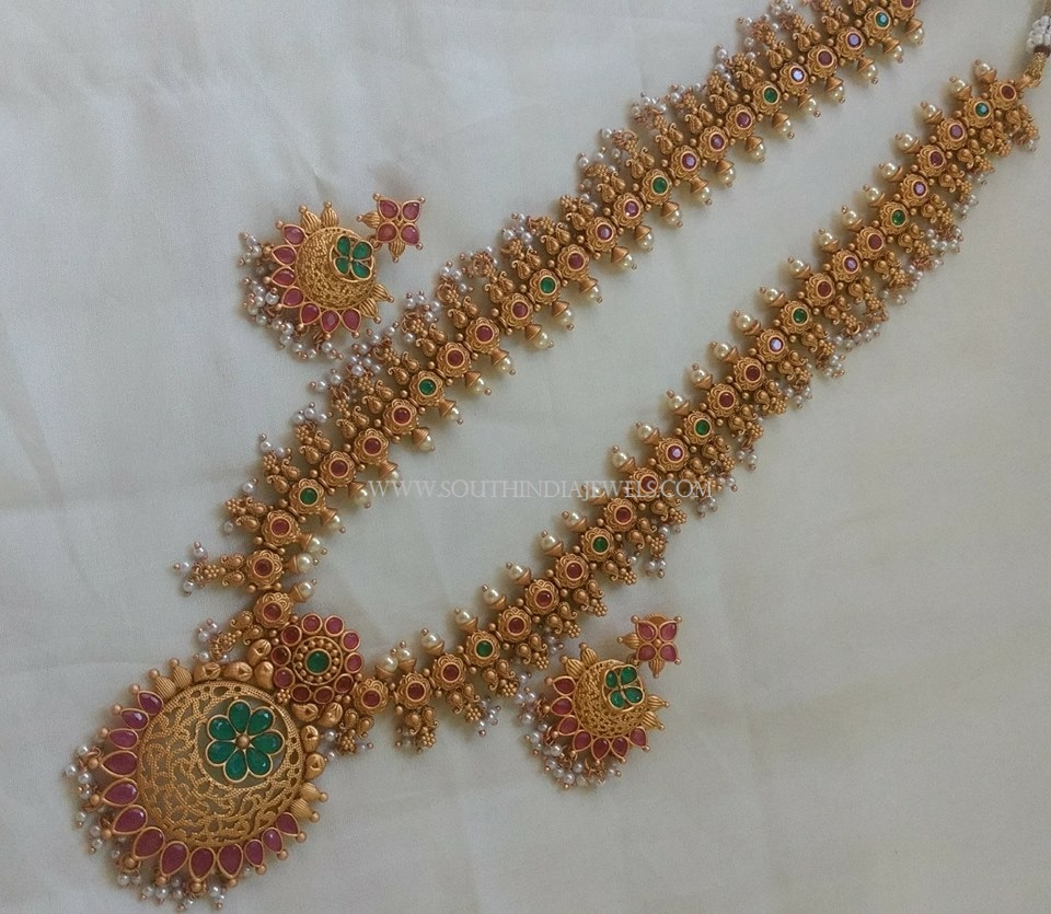 Long Ruby Emerald Haram With Earrings