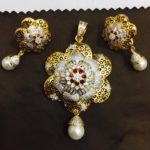 Diamond Floral Pendant and Earrings