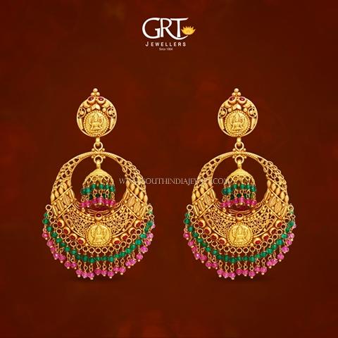 Gold Antique Chandbali Earrings from GRT