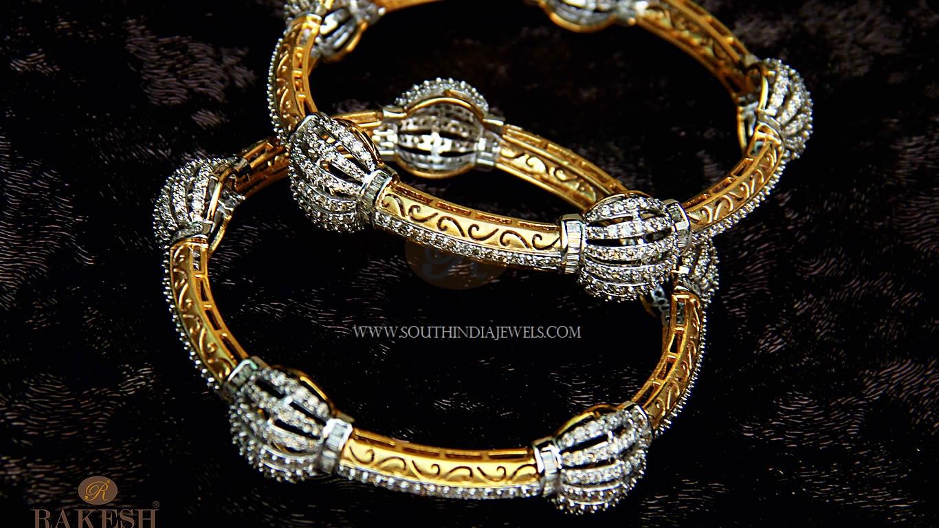 Gold Diamond Bangle From Rakesh Jewellers