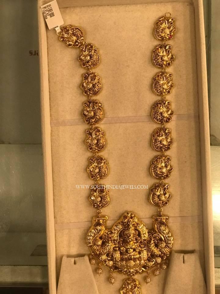 Gold Long Lakshmi Temple Haram Design