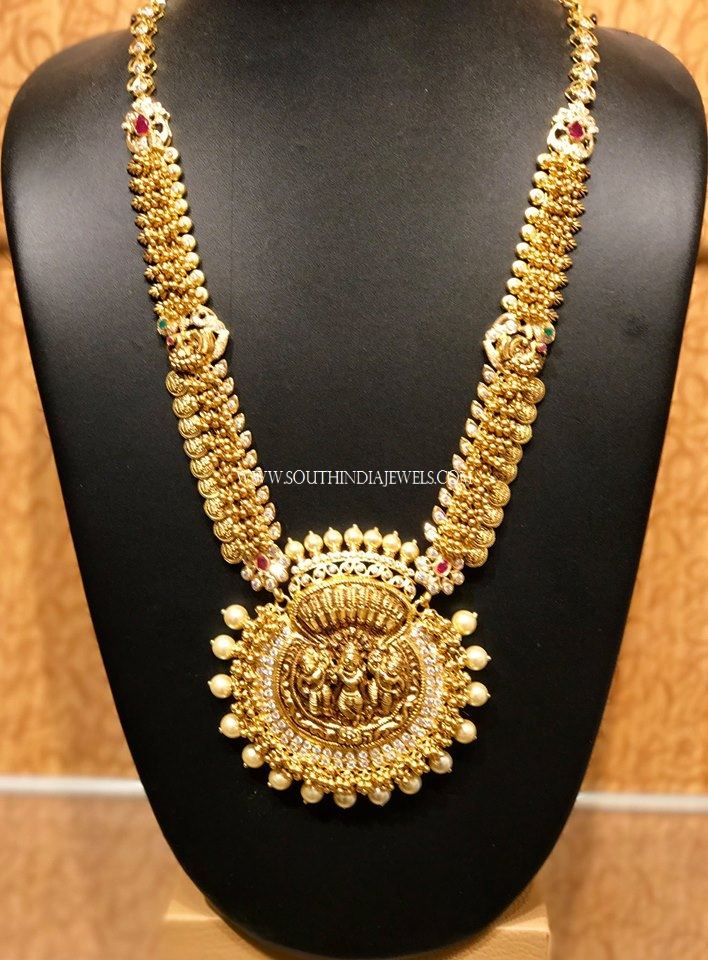 Traditional Gold Haram With Nakshi Work