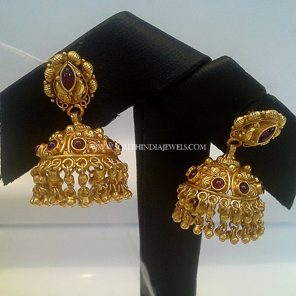 22K Gold Jhumka With Red Stones