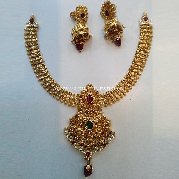 Gold Antique Attigai and Jhumka