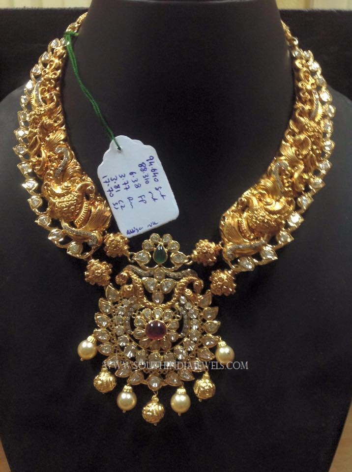 Gold Antique Peacock Necklace