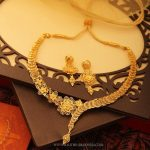 Gold Floral Necklace And Earrings From Manubhai