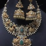 Gold Peacock Necklace With Jhumka