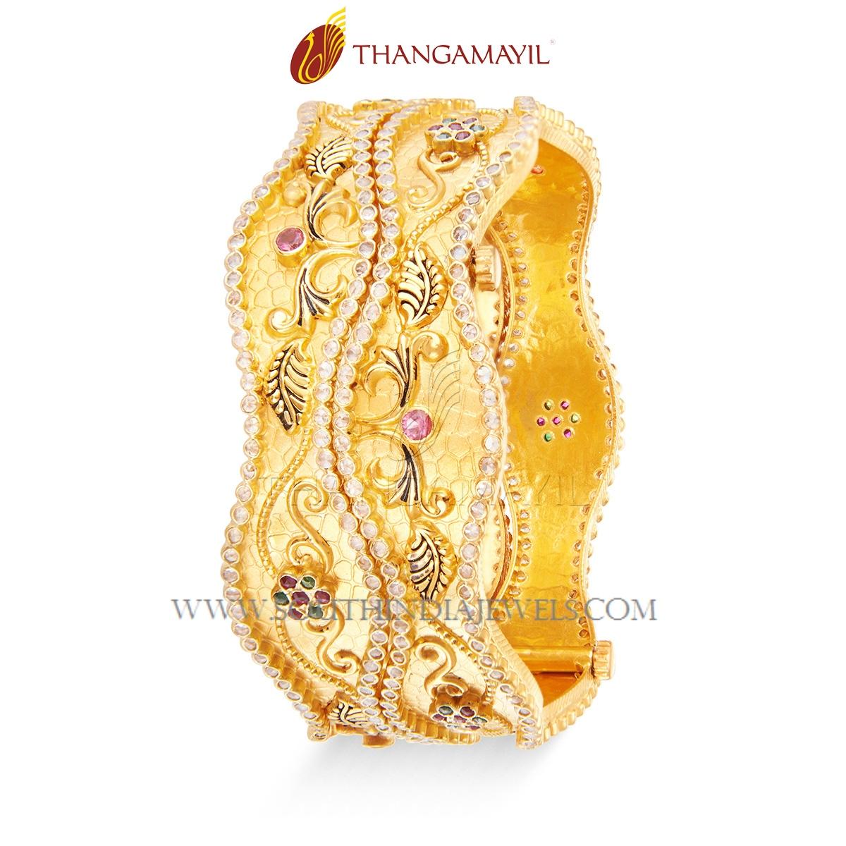 Gold Zig Zag Bangle From Thangamayil
