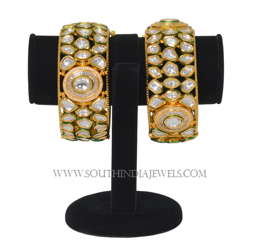 One Gram Gold Broad Kundan Bangle