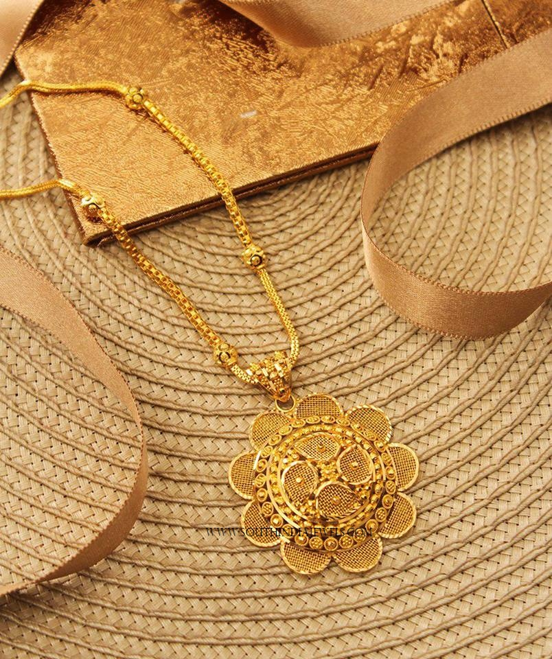 Gold Chain With Floral Pendant