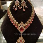Gold Designer Ruby Necklace and Earrings Set