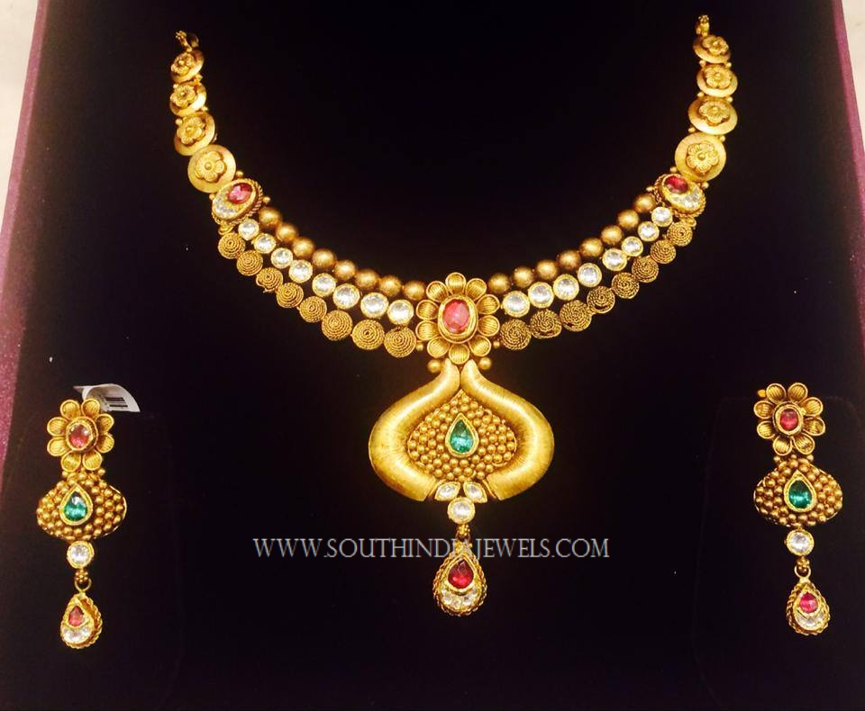 Gold Necklace Set From K.N Jewellers