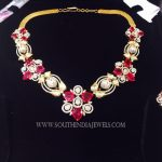 Gold Diamond Ruby Stone Necklace Design