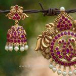 Imitation Ruby Pendant and Jhumka