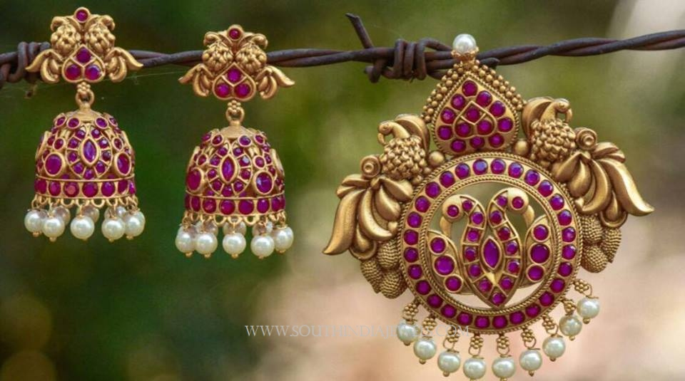 Imitation Ruby Pendant and Jhumka