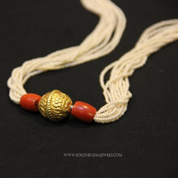 Silver Gold Plated Pearl Coral Mala