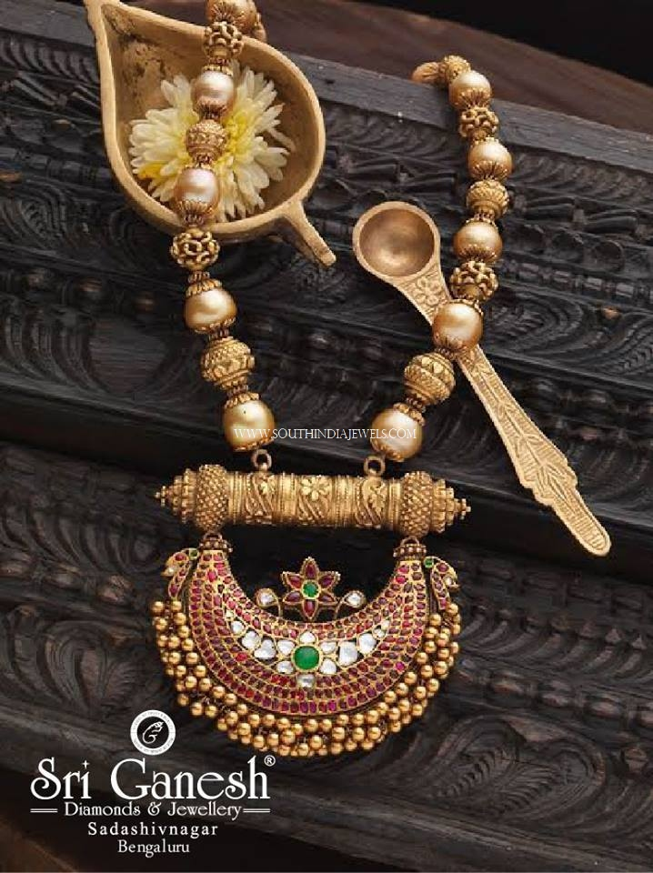 Antique Pearl Mala With Ruby Pendant