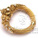 Gold Bangles With Flat Diamonds