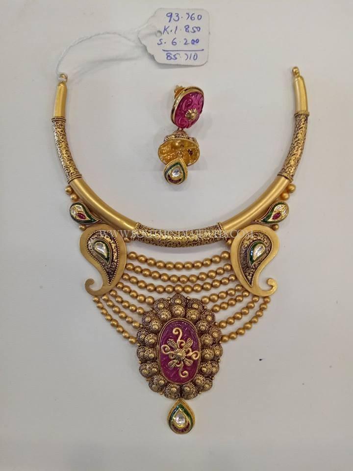 Gold Designer Antique Set With Jhumka