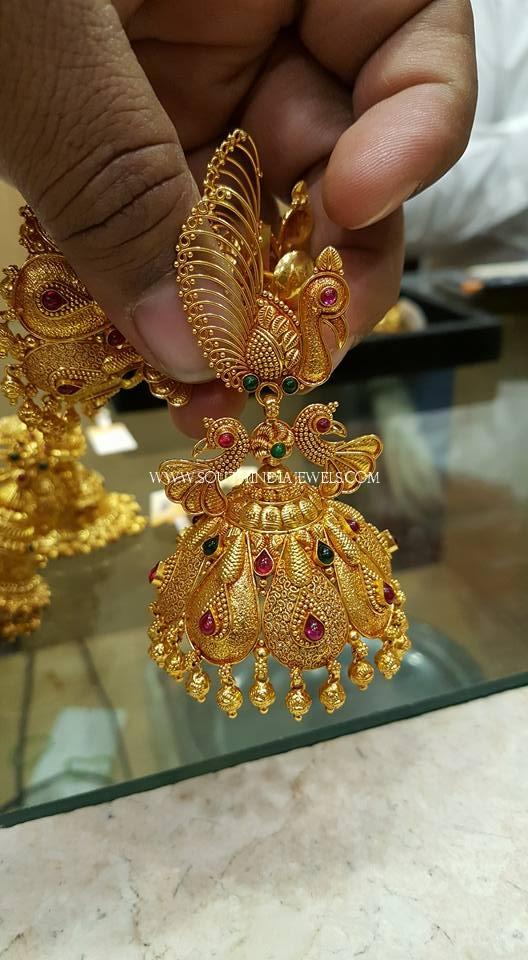 Gorgeous Gold Peacock Jhumka