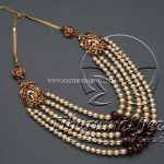 Multilayer Gold Pearl Necklace With Rubies