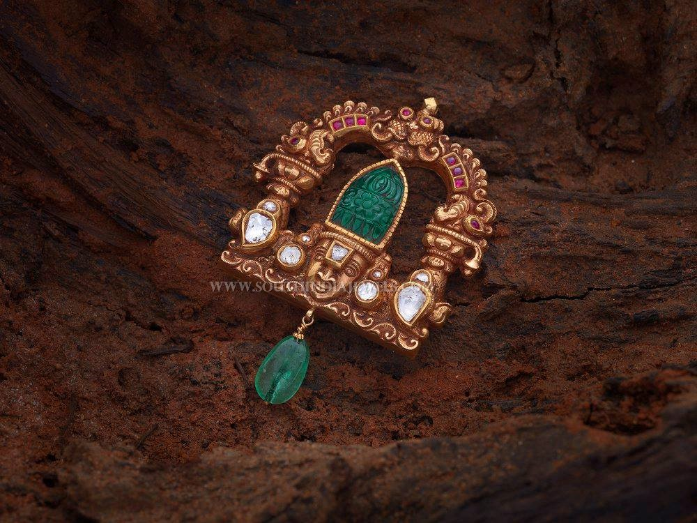 Gold Antique Lord Balaji Pendant With Price