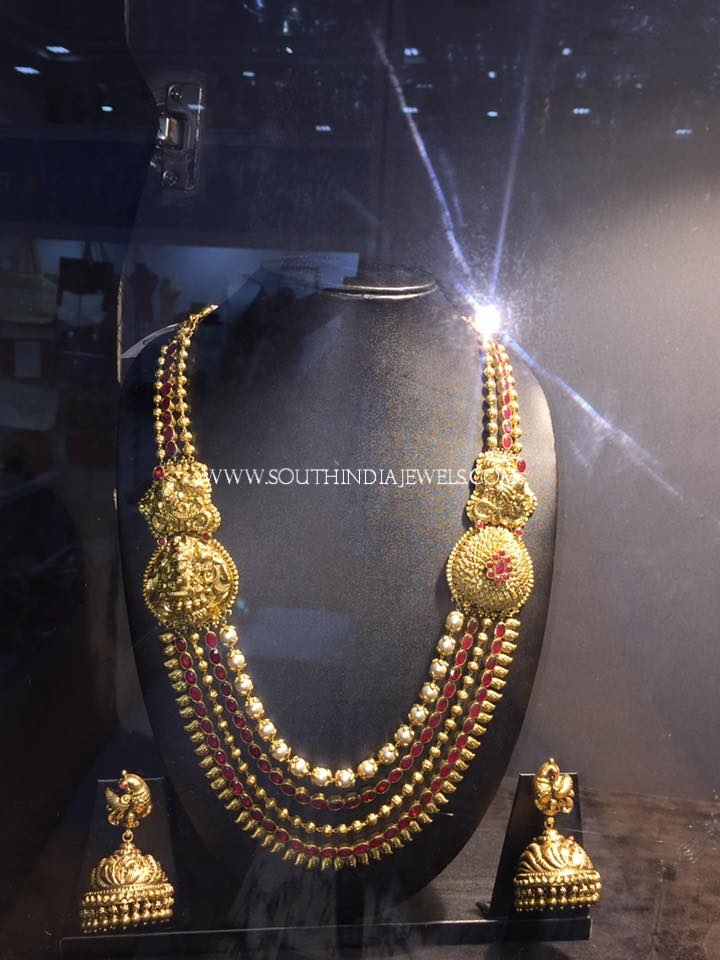 Antique Ruby Multilayer Necklace Set With Jhumka