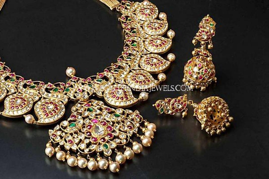 Diamond Mango Necklace With Jhumka