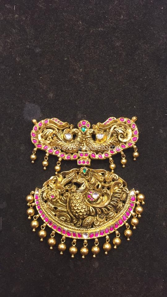 Gold Antique Pendant For Long Harams