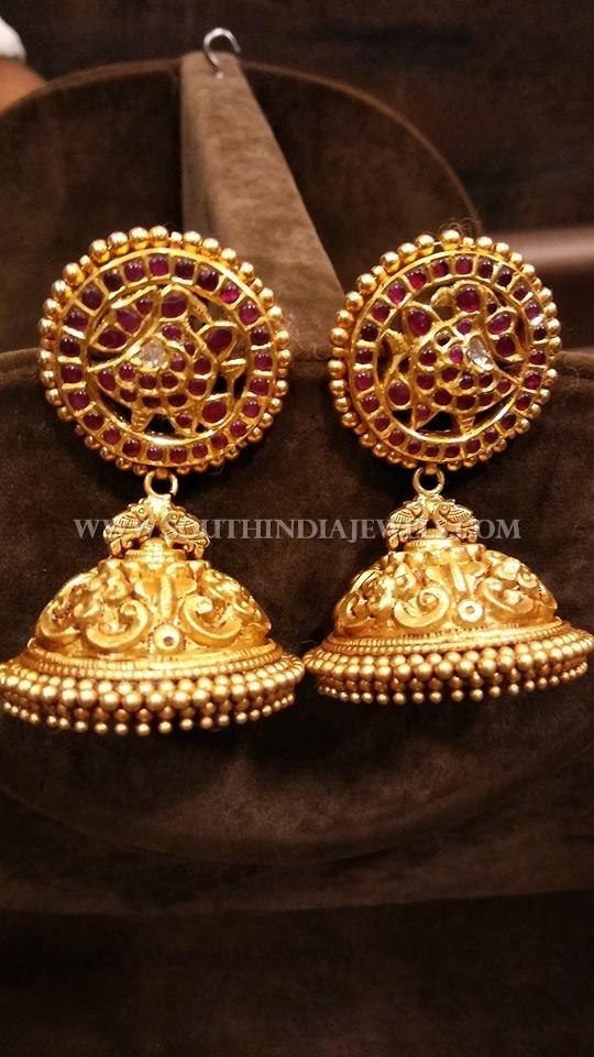 Gold Bridal Kemp Jhumka Design
