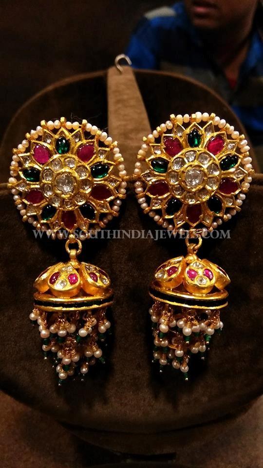 Gold Designer Pearl Jhumka Model