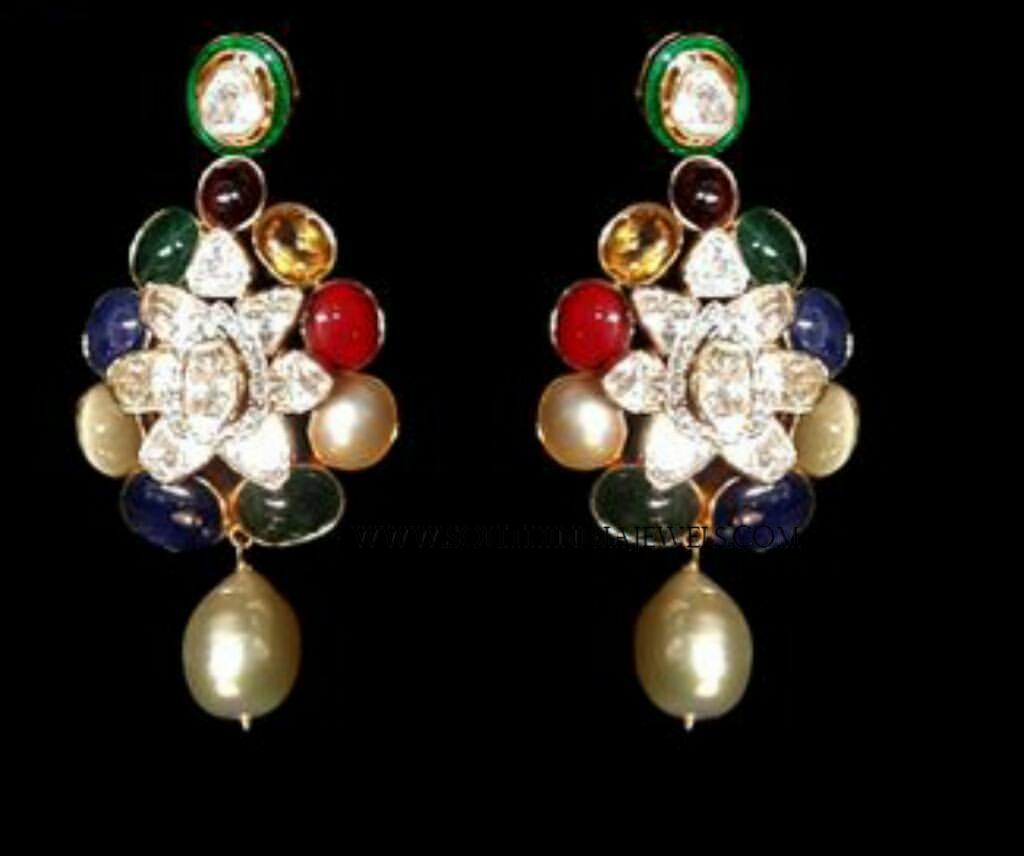 Gold Polki Navaratna Earrings