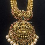 Nakshi Work Gold Lakshmi Necklace