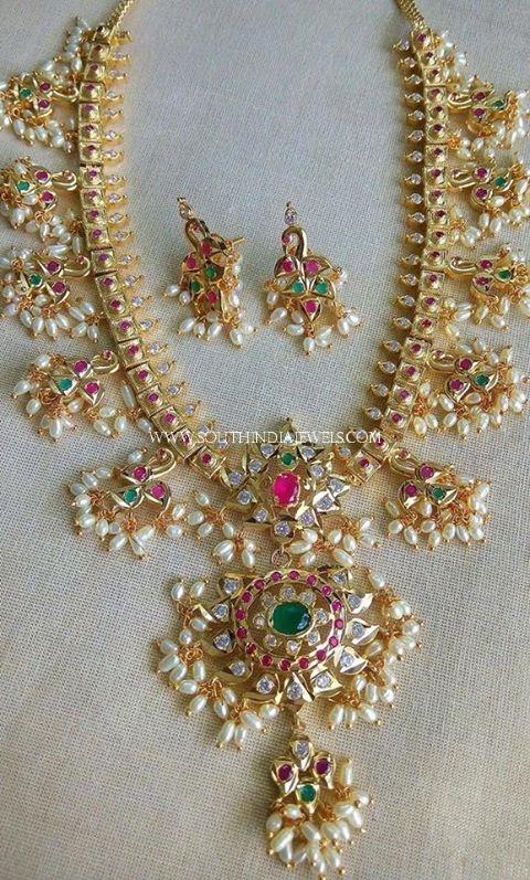 One Gram Gold Guttapusalu Haram and Earrings