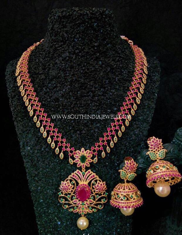 One Gram Gold Necklace With Pink Stones