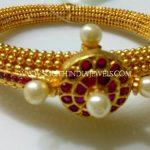 One Gram Gold Ruby Pearl Kada
