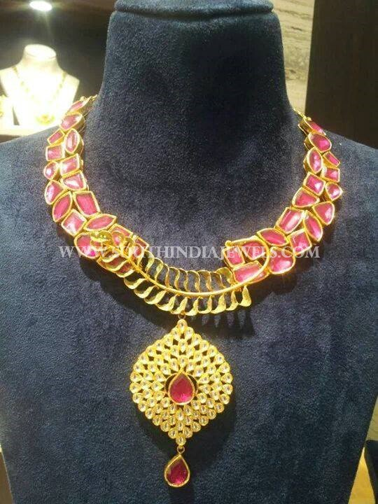 Designer Gold Kundan Necklace From CMR Jewels