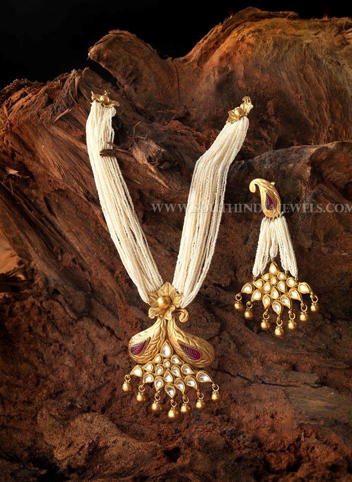 Pearl Mala With Gold Kundan Pendant