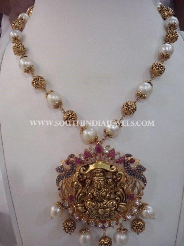 Gold Antique Pearl Mala With Lakshmi Pendant