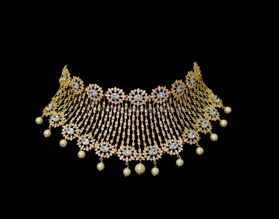 Designer White Stone Choker From Sri Fine Jewellery