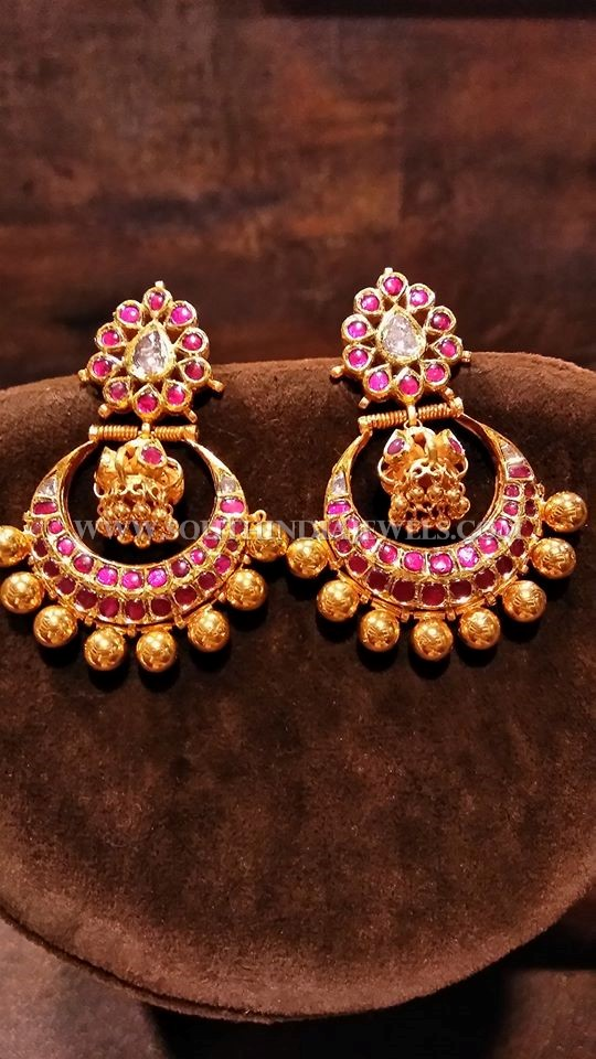 Gold Kemp Ruby Chandbali Designs