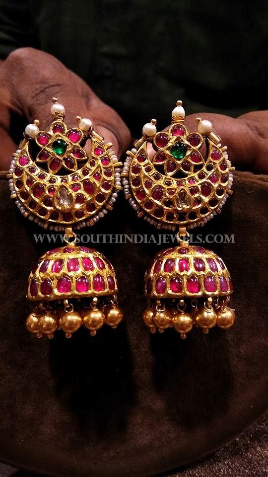 Gold Antique Kemp Ruby Jhumka Design