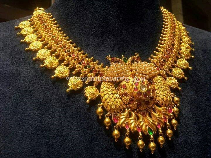 Gold Antique Peacock Necklace From CMR Jewels