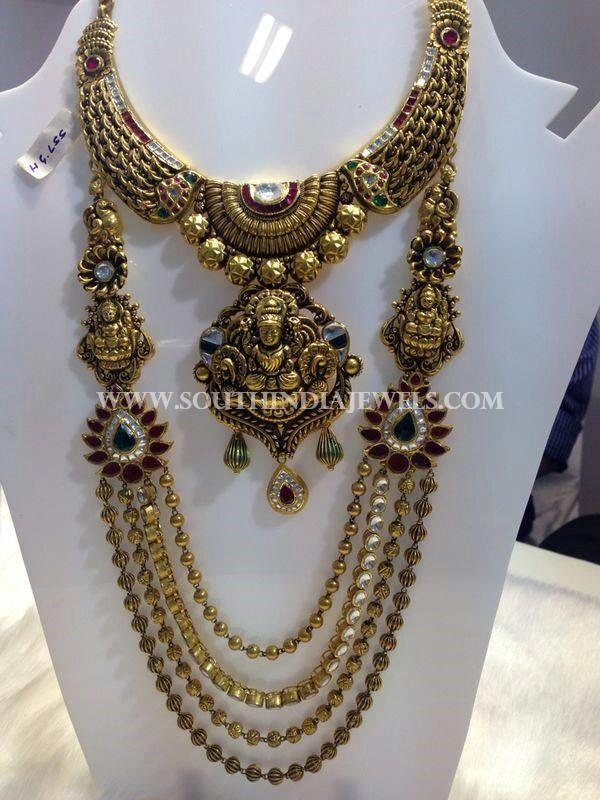 Gold Nakshi Bridal Jewellery Necklace and Haram